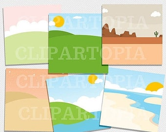 50% OFF SALE Landscape Paper Pack 12 x 12 and 11 x 8.5 inches  / Scenery Paper Pack 12 x 12 and 11 x 8.5 inches for Personal and Commercial