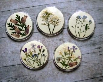 Genuine dried flowers badge boho nature