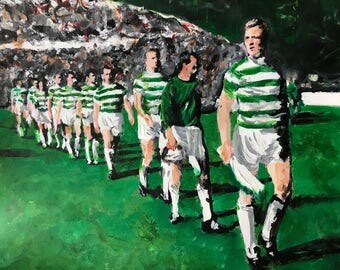Framed Celtic FC art print.