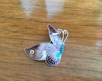 Antique Sterling Silver Cloisonne Butterfly Brooch Pin