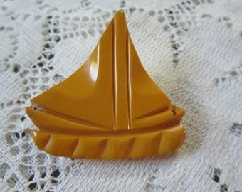 Vintage Carved Bakelite Sailboat Brooch