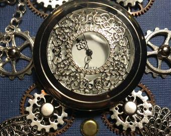 Whirlygig Steampunk journal with clock