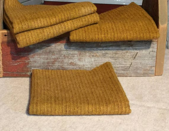 Mustard Stripe, Hand  Dyed Wool Fabric for Rug Hooking, Applique, Penny Rugs, Fiber Arts, Fat Quarter Yard  W309