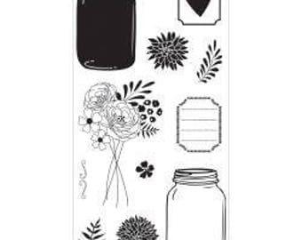 Hampton Art Clear Stamps - MASON JAR FLORALS 11 pcs Mason Jars Bouquet Flowers SCO684 cc02