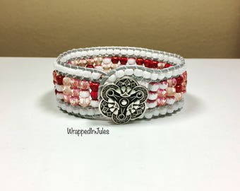 Blushing Rose blooming in Gray Leather Beaded Bracelet, cuff bracelet, leather jewelry, leather bracelet, Ready to Ship, gypsy jewelry,