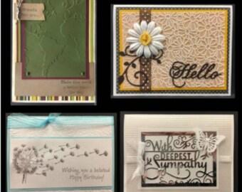 Card kit for sympathy,hello,birthday,friendship Handmade Cards Kit - create 4 cards with kit - Inspiration Station January 2017 kit