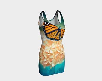 Body Con Dress, Skater Dress, Teen Clothing, Butterfly dress, Reversible dress, Monarch Bodycon, Nature Club Wear, Spandex Mini Dress