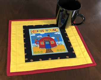 Coffee House Mugrug, Quilted Snack Mat, Coffee Theme Mug Rug, Mini Placemat, Luncheon Mat, Handmade Beverage Mat, Mini Quilt, Quilted Mugrug