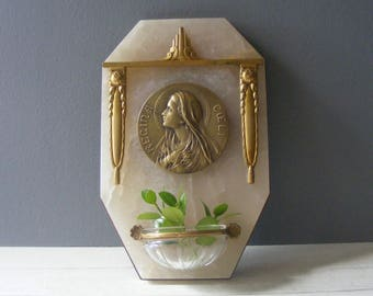 Antique French Benitier,Holy Water Font ,Regina Coeli,Signed Ruffony.