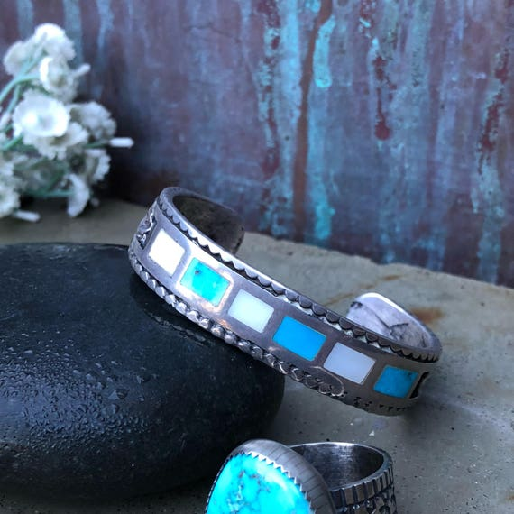 Vintage turquoise and mother of pearl inlay tufa cast cuff  for a small wrist