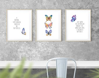 Wall Decor Set butterfly wall decor | etsy