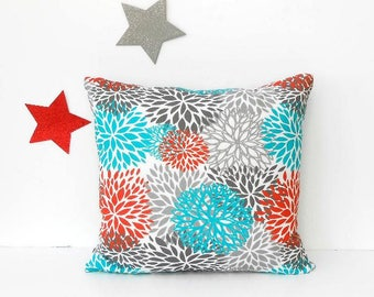 Turquoise Outdoor Pillow Cover, Floral 16x16 Grey Red White Patio, Porch or Deck Accent Pillow, Sunroom Pillow Case, Summer Floral Sham