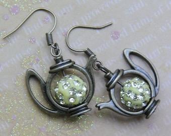 Christmas earrings. Alice in wonderland earrings. Mad Hatter tea party earrings. Teapot earrings. Tea earrings. Fairy tale earrings.