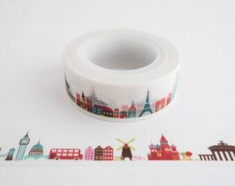 International Landmarks Travel Washi Tape - Masking Tape - Gift Wrap Tape - Journaling - Scrapbooking - Planner
