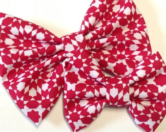 Red Geometric Bow | Fabric Bow | Handmade Hair Bow | Hair Clip | Headband