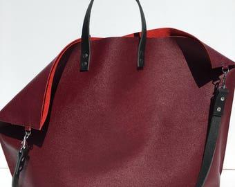 SALE! XL Burgundy Premium Leather Gym, Travel, Yoga, ETC. Carry All Tote
