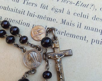 French antique 19th century religious rosary medals gold vermeil sterling silver  gothic crucifix black crystal hand cut bead
