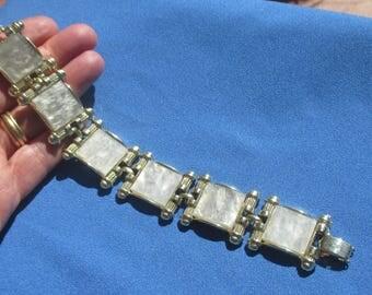 Vintage Gray Square Plastic Cabochon Linked Bracelet