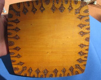 Vintage Wood Pyrography Lined Jewelry Box Marked
