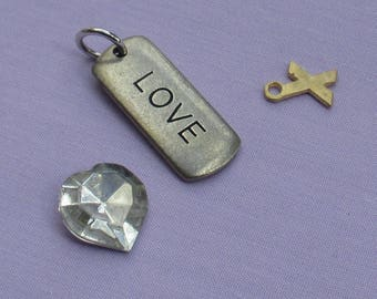 Salvaged Love Heart X Cabochon  Charm Pendant Lot