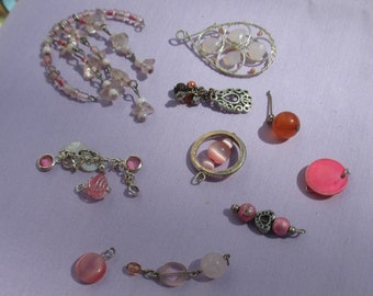 Lot Of Salvaged Pink Pendants Beaded Dangles