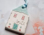 SMILE Valentines day gift, Clay Tags, Stocking stuffer, White Glazed Ceramics ornament, Living room decor