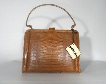 Palizzio Handbag NOS Italian Purse Brown Lizard Bag Byck's Louisville, 1960s Frame Purse Brass Details Retro Lizard Handbag Tag, Vintage Bag