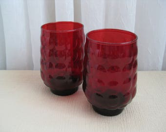 Set of Two Vintage 1950's Royal Ruby Red Bubble Glass Tumblers Anchor Hocking