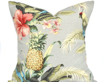 One Tommy Bahama pillow cover, cushion, decorative throw pillow, Palm tree pillow, accent pillow, outdoor pillow, Pineapple print pillow