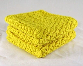 Yellow Washcloth, Yellow Kitchen Towels, Yellow Dish Towels, Yellow Cotton Spa Set, Yellow Crochet Spa Set, Yellow Cotton Washcloth