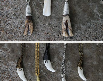 Wire wrapped tooth necklace, canine or buffalo
