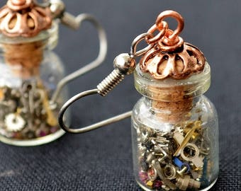 Steampunk Earrings, Time in a Bottle Earrings, Tiny Watch Pieces Earrings, Glass Bottle earrings