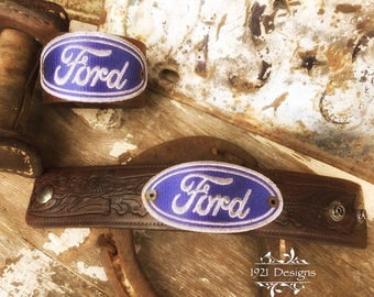 Ford patch on leather western belt cuff