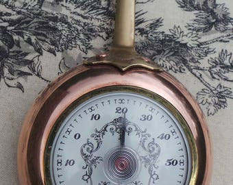 Kitchen Cooks Room Thermometer French Vintage Copper Pan With Thermometer Made By Atelier Du Cuivre! Pan Thermometer Temperature Gauge