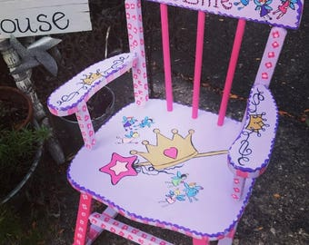 Custom Painted Child Rocking Chair, Princess Girl Rocking Chair
