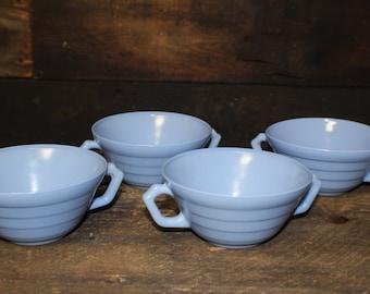 Hazel Atlas Moderntone Platonite Pastel Blue Handled Soup Bowls
