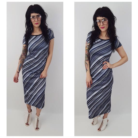 Vintage 90s Striped Maxi Short Sleeve Dress - Small Blue Black Gray Stripe Long Maxidress - Vtg 1970s Retro Grunge Womens Bodycon Midi Dress