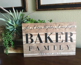 Jeremiah 29:11 Personalized Wooden Sign