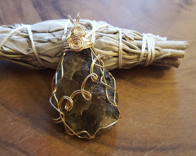 Rough Watermelon Tourmaline gold colored copper wire wrapped pendant, Reiki infused approx 2.4x1.4 inches (WW34)