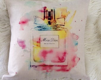 "Watercolor Fashion Inspired Art Pop Miss Dior perfume logo print design Inspired pillow case cover linen 18""x18"""
