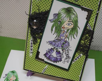 Cute Zombie Girl -  Handmade Greeting Card