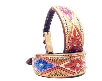 MadcoW  Handmade Western Style Orange Magenta Blue Hand Floral Tooled Canine Leather Cowhide K9 Show Dog Pet Collar Adjustable Crystal Bling