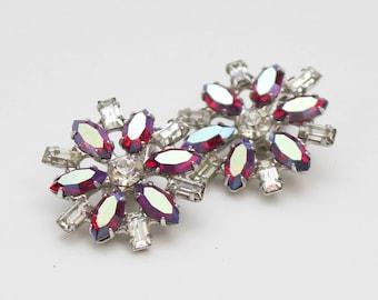 Red Rhinestone Flower Earrings - Vintage 1960s B David Clip Ons