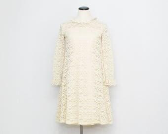 60s Ivory Lace Shift Dress - Size Small Vintage 1960s Short Wedding Dress