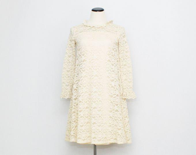 Vintage 1960s Ivory Lace Shift Dress - Size Small