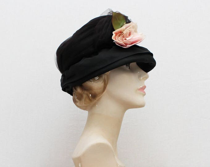 Vintage 1960s Black Tulle Rose Cloche