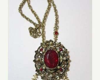 ON SALE Necklace Gold Tone Vintage Large Medallion Pendant Dangle Drop Flowers Red Glass Center 1960's Vintage