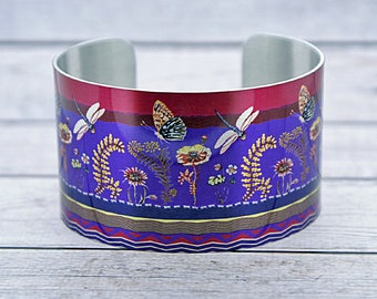Insect jewellery cuff bracelet, metal bangle with butterflies and dragonflies, dragonfly butterfly gifts, unusual artistic jewelry. C557