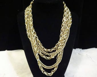 Vintage Multiple Chain (6) Gold Tone Graduated Necklace