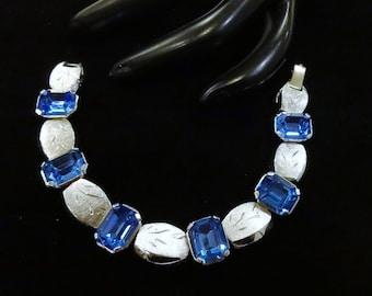 Vintage Kramer Emerald Cut Blue Rhinestone Bracelet